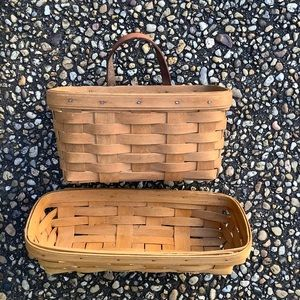 Two small Longaberger baskets pencil & hanging